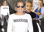 "EXCLUSIVE: Yolanda Hadid arrives wearing a ""Warrior"" shirt as she continues to fight Lyme Disease.  The mother of Bella & Gigi Hadid was seen at LAX in blue spandex, sneakers & a shirt with the word ""WARRIOR"" written on it. \n\nPictured: Yolanda Hadid\nRef: SPL1319375  140716   EXCLUSIVE\nPicture by: Sharky/Polite Paparazzi/Splash\n\nSplash News and Pictures\nLos Angeles: 310-821-2666\nNew York: 212-619-2666\nLondon: 870-934-2666\nphotodesk@splashnews.com\n"