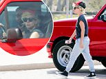 EXCLUSIVE TO INF.\nJuly 15, 2016: Lady Gaga in sweats, black tee and trucker cap enjoys a warm Friday afternoon as she cruises her red pickup truck before making a stop at her local grocery store in Malibu, CA. \nMandatory Credit: Lazic/Borisio/SAA/INFphoto.com Ref.: infusla-257/277/302