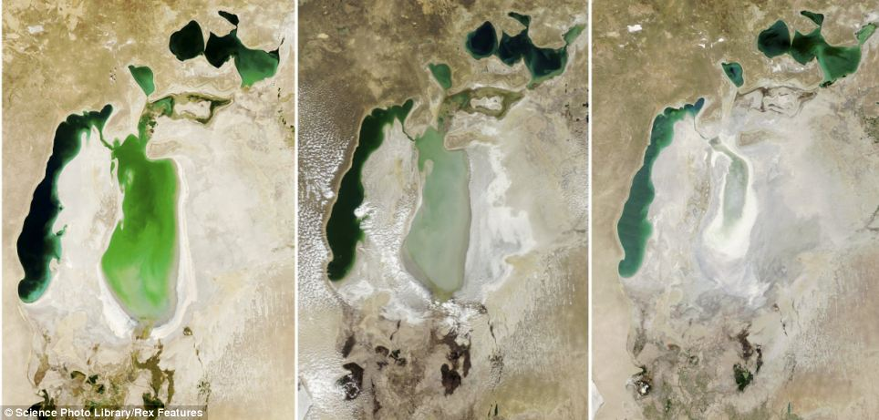 Aral Sea 1973, 1987, 1999, 2001, 2004, 2007 and 2009