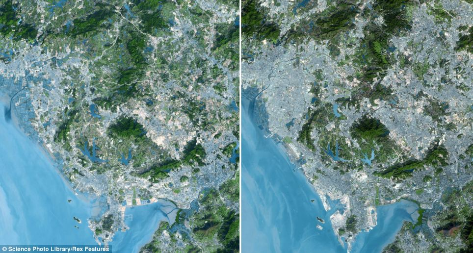 Shenzhen, China in 1999, left, and right, in 2008