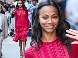 """NEW YORK, NY - JULY 18:  Actress Zoe Saldana leaves the """"Good Morning America"""" taping at ABC Times Square Studios on July 18, 2016 in New York City.  (Photo by Ray Tamarra/GC Images)"""