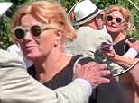 EXCLUSIVE Rupert Murdoch and Jerry Hall are seen having lunch at Club 55 in St-Tropez with Rupert's ex-wife Wendi Deng and their daughter Chloe Murdoch to celebrate her birthday.\n18 July 2016.\nPlease byline: Vantagenews.com