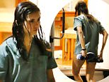 "EXCLUSIVE: Actress, Nina Dobrev tries to cover up her assets and backside with her running shoes as she was seen wearing no pants while on set filming her new movie ""Flatliners"" in Toronto. Nina Dobrev was in costume just wearing the top half of her scrubs without her pants as she plays the role of a Medical Student in Flatliners. Flatliners also stars Ellen Page, Diego Luna, and James Norton and is a Remake of the original movie Flatliners.\n\nPictured: Nina Dobrev\nRef: SPL1319092  180716   EXCLUSIVE\nPicture by: Splash News\n\nSplash News and Pictures\nLos Angeles: 310-821-2666\nNew York: 212-619-2666\nLondon: 870-934-2666\nphotodesk@splashnews.com\n"