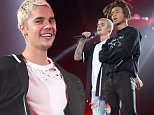 """NEW YORK, NY - JULY 19:  Jaden Smith performs with Justin Bieber on stage during his """"Purpose"""" tour at Madison Square Garden on July 19, 2016 in New York City.  (Photo by Kevin Mazur/Getty Images)"""