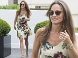 Pippa Middleton leaves the home of her fiance James Mathews this morning wearing a large diamond engagement ring.