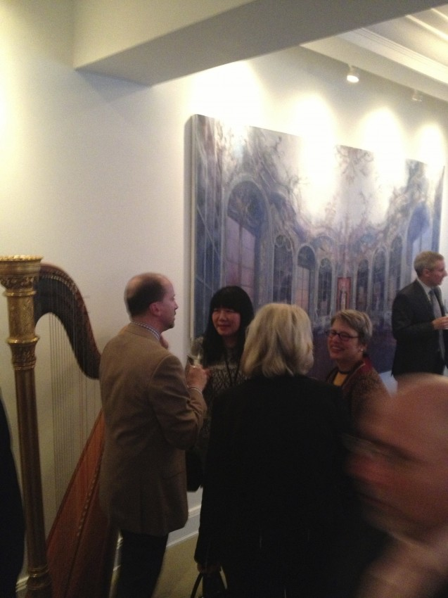 Peter Trippi speaking with Anna Sui at the home of David and LaVon Kellner