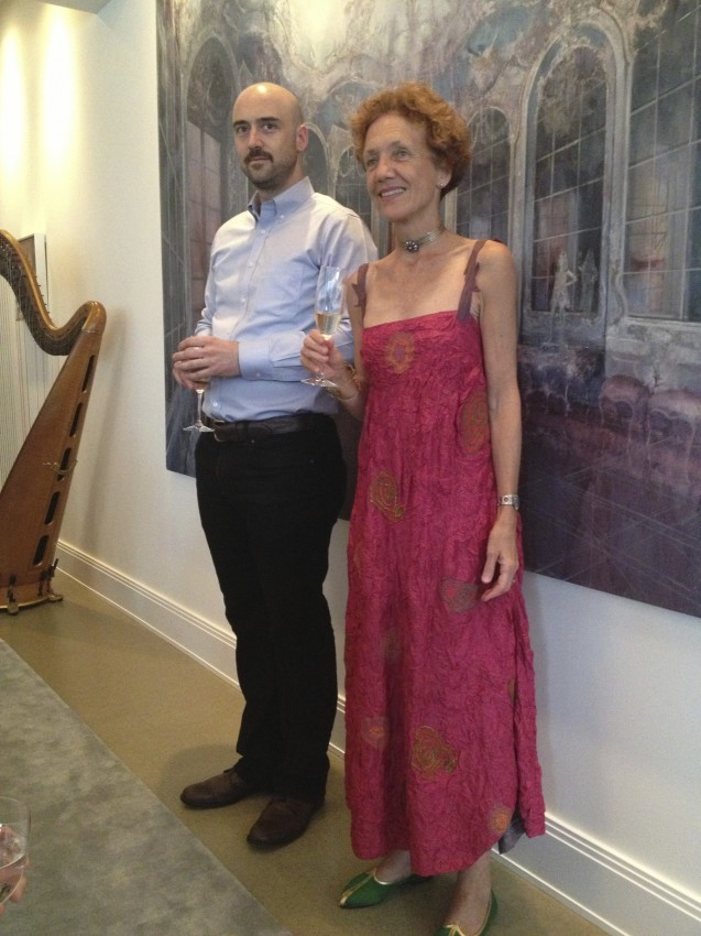 Tim Kent and Writer Louise Nicholson in front of Kent's Hall of Mirrors at LaVon and David Kellner's home