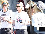 Exclusive... 52128285 Actress Kristen Stewart is spotted out for a coffee in Los Feliz, California with her girlfriend Alicia Cargile on July 20, 2016. Kristen & Alicia, who were both rocking matching white t-shirts with black jeans, stopped to share a long kiss before heading on their way. FameFlynet, Inc - Beverly Hills, CA, USA - +1 (310) 505-9876