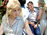 """New York, NY - James Franco and Zoe Kazan are seen in costume on set of """"The Deuce."""" The two actors get into character for a scene together. Zoe is wearing a 70s vintage jumpsuit with her hair done up big for the role. """"The Deuce"""" is a look at life in New York City during the 1970s and '80s when porn and prostitution were rampant in Manhattan. \nAKM-GSI          July 20, 2016\nTo License These Photos, Please Contact :\nMaria Buda\n(917) 242-1505\nmbuda@akmgsi.com\nsales@akmgsi.com\nor \nMark Satter\n(317) 691-9592\nmsatter@akmgsi.com\nsales@akmgsi.com\nwww.akmgsi.com"""