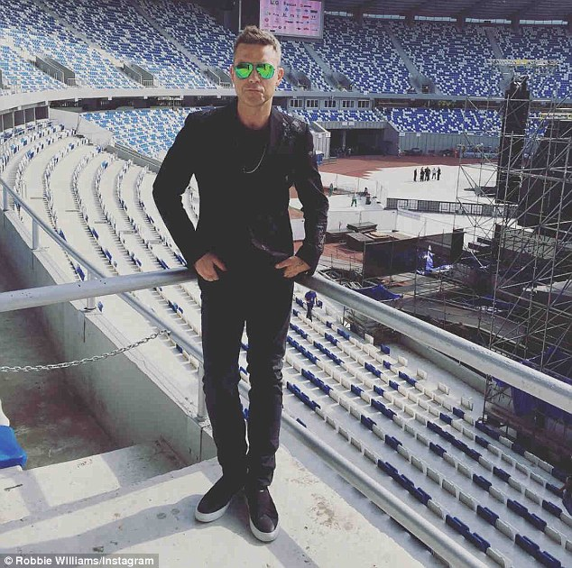 Not long to go: Teasing his social media followers ahead of the main event, he posted, 'robbiewilliamsReady and waiting for you Tbilisi x #georgia