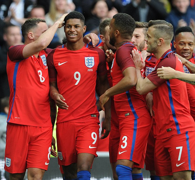 Rashford's team-mates mobbed him when he scored to put his side ahead in the first half against Australia
