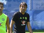 VELDEN, AUSTRIA - JULY 21:  Antonio Conte, Cesc Fabregas during a Chelsea training session at Waldarena on July 21, 2016 in Velden, Austria. (Photo by Darren Walsh/Chelsea FC via Getty Images)