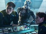 Anton Yelchin, Sofia Boutella, and Chris Pine in Star Trek Beyond (2016)  Titles: Star Trek Beyond People: Anton Yelchin, Sofia Boutella, Chris Pine Characters: James T. Kirk, Pavel Chekov, Jaylah Photo by Photo credit: Kimberley French - © 2016 Paramount Pictures. All Rights Reserved. STAR TREK and all related marks and logos are trademarks of CBS Studios, Inc.