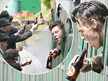 Harry Styles films the final scenes of the British Armys homecoming at a station in Dorset from the film Dunkirk 25 July 2016. Please byline: Vantagenews.com