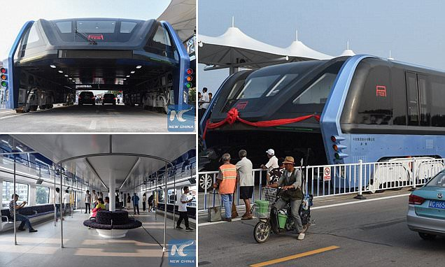 China's radical elevated bus that drives over the TOP of other cars