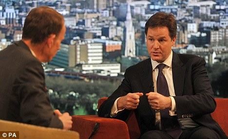 Promise: Nick Clegg talks to Andrew Marr on his show, where he sministers were prepared to bring in legislation to curb 'excessive and irresponsible' salaries