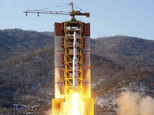 FILE - This Feb. 7, 2016 file image released by the Korean Central News Agency (KCNA) and distributed by the Korea News Service (KNS) shows a rocket lifting off, said to be carrying North Korea's Earth observation satellite Kwangmyongsong-4, at the Sohae launch pad in Tongchang-ri, North Korea. North Korean space officials are hard at work on a five-year plan that they say will put more satellites into orbit and lay the groundwork for a shot to the moon.  (Korean Central News Agency/Korea News Service via AP, File)