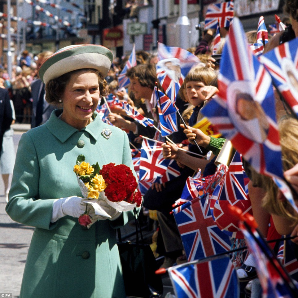 On tour: The Queen on a walk-about in Portsmouth during her Silver Jubilee tour of Great Britain on June 29, 1977. She marked 25 years on the throne with a busy UK tour, visiting 36 counties over 10 weeks, as well as travelled 56,000 miles around the world in celebration