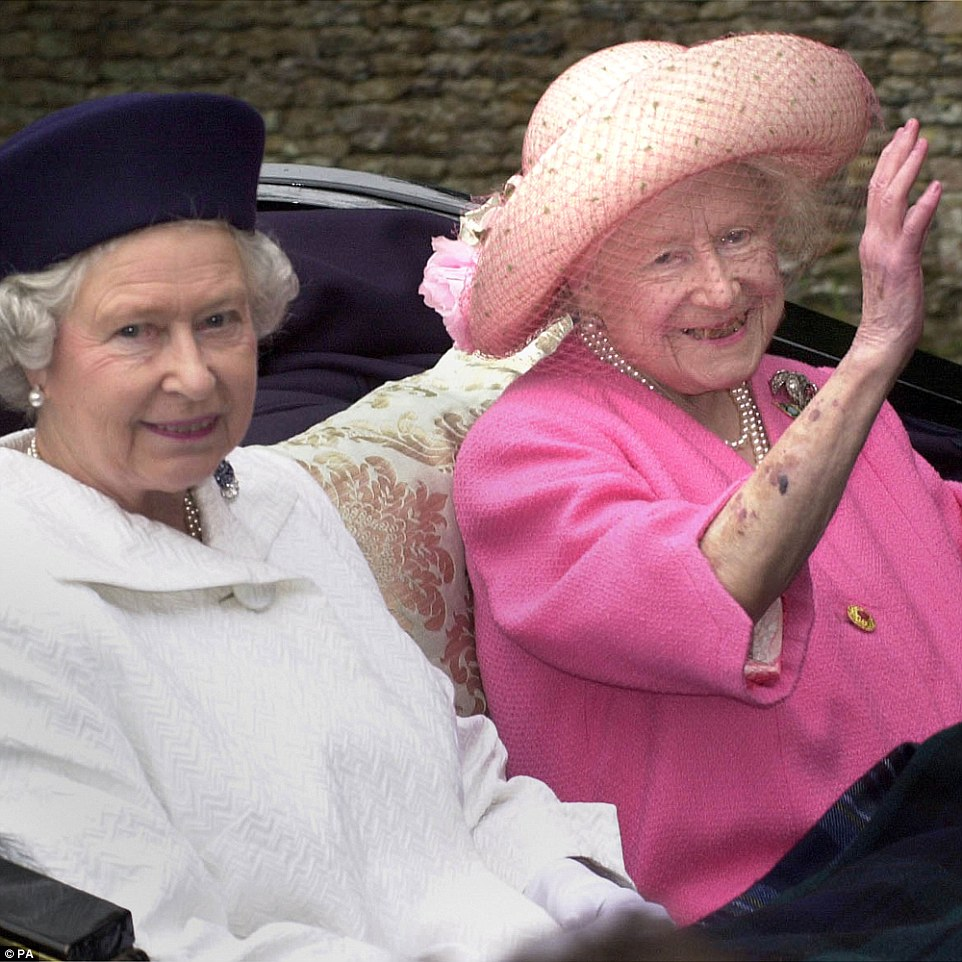 Close relationship: The Queen (left) and the Queen Mother leaving church by horse drawn carriage on the Sandringham Estate, Norfolk on July 23, 2000. The Queen was close to her mother, whom she called 'Mummy', and they shared a love a passion for everything equestrian and enjoyed talking about the turf