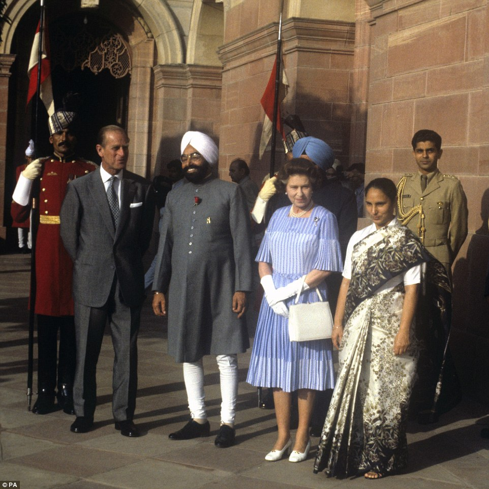 World traveller: Queen Elizabeth II and the Duke of Edinburgh visiting the Indian President Zail Singh at his palace in New Delhi on November 17, 1983. The Queen has travelled to some 129 different countries during her reign so far, but does not have a passport as British passports are issued in her name