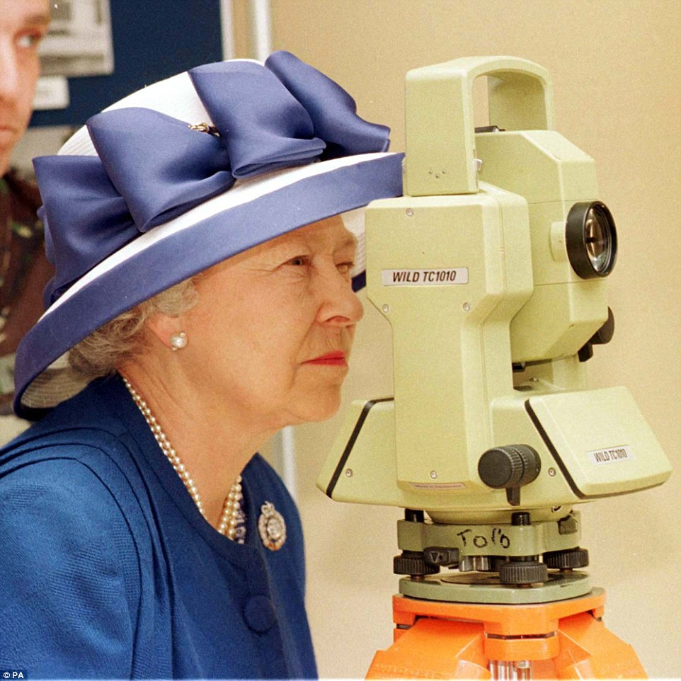 Eye-eye: The Queen, Colonel in Chief of the Corps of the Royal Engineers, looking though a Theodolite during her visit to the 42 survey Engineer Group at Denison Barracks in Hermitage on JUne 26, 1998