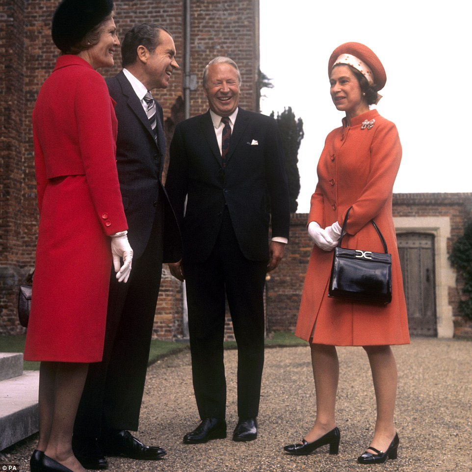 Meetings: Queen Elizabeth II with Prime Minister Edward Heath (second from right)  and American President Richard Nixon and his wife Pat Nixon at Chequers, Buckinghamshire on October 3, 1970. Since she came to the throne, there have been 12 U.S. presidents and she has met all but Lyndon B Johnson
