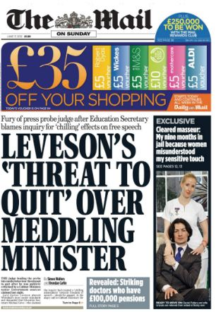Praised: One of the MoS exclusives on the Leveson Inquiry