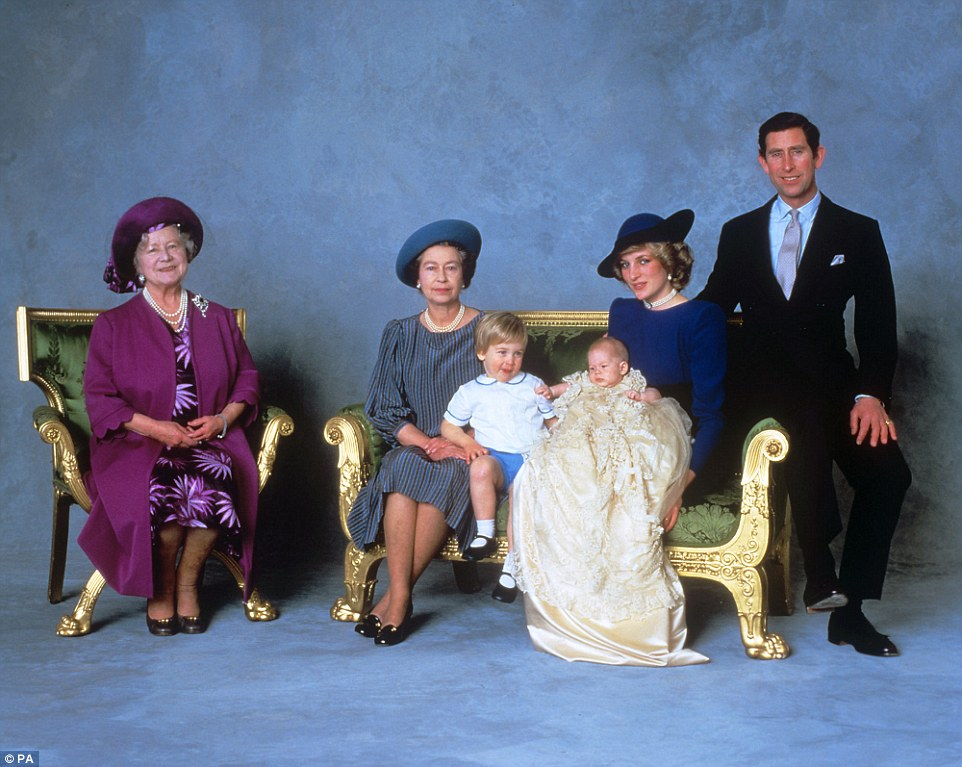 Family photo:Pictured from left, the Queen Mother, Queen Elizabeth II, Prince William, Prince Harry and the Prince and Princess of Wales after the christening ceremony of Prince Harry on December 21, 1984. The Queen is grandmother to eight and great-grandmother to five