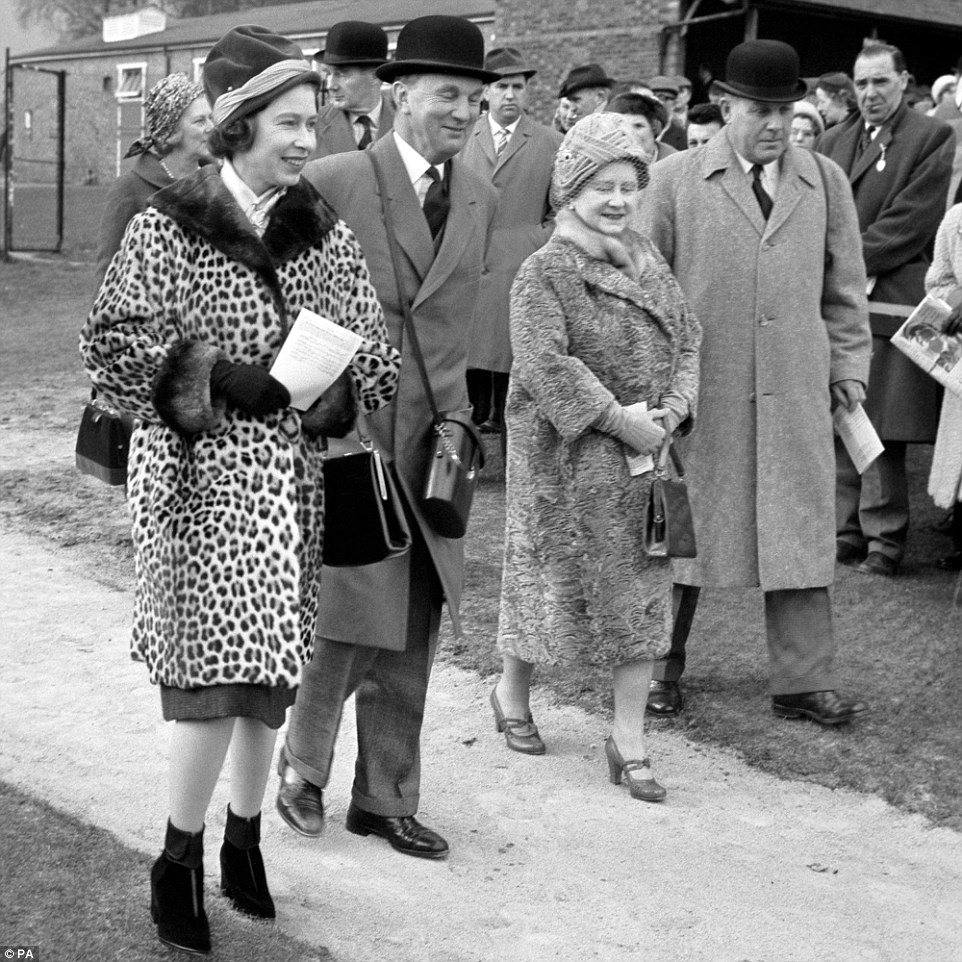 Stylish: The Queen (pictured left) is a leopard-skin coat at a Sandown Park race meeting on March 23, 1963. The fur ensemble has been consigned to the wardrobe after conservationists urged her not to wear it, but she has been seen in other fur coats and hats since