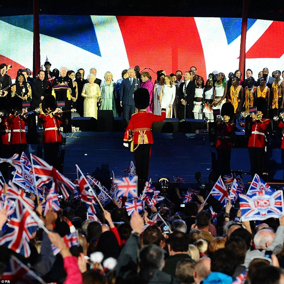 60 years as sovereign: The Queen is centre stage to celebrate her Diamond Jubilee with Sir Elton John and Kylie Minogue at the pop concert in front of Buckingham Palace on June 6, 2012