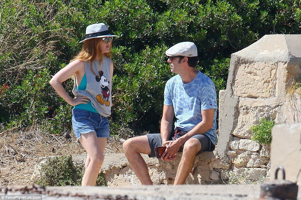 Enjoying some alone time: After a dip in the sea the loved-up pair went to visit Saint-Honorat Island together