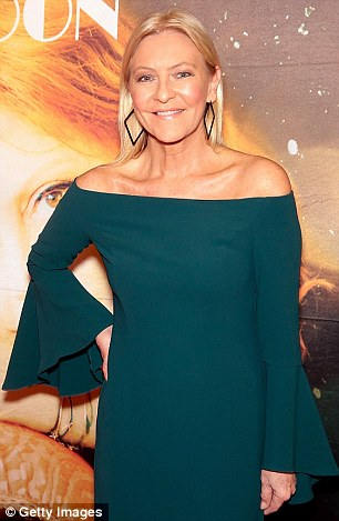 Simple: TV presenter Jo Hall stunned in a blue off-the-shoulder gown