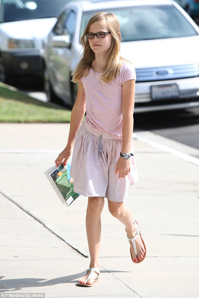Hitting her stride! Violet donned a summery skirt and light pink top for church