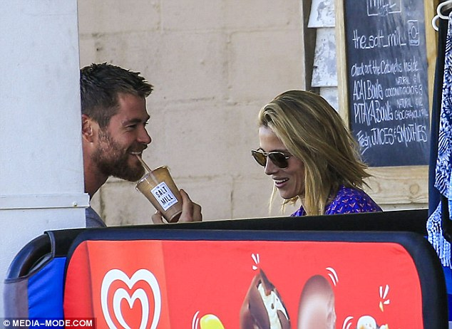 Relaxed: The couple spotted enjoying a juice last month, going about their business without interruptions