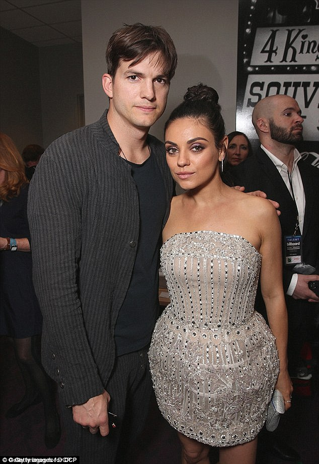Simple: The 32-year-old stunner purchased $90 wedding bands for her and husband Ashton Kutcher from Etsy and wears the platinum band instead of her extravagant engagement ring