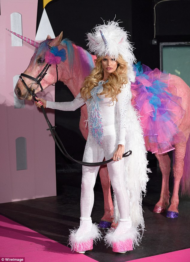 Katie Price pictured when she launched her new Pony Club show in her usual flamboyant styles. She said she doesn't care if it isn't in keeping with equestrian tradition
