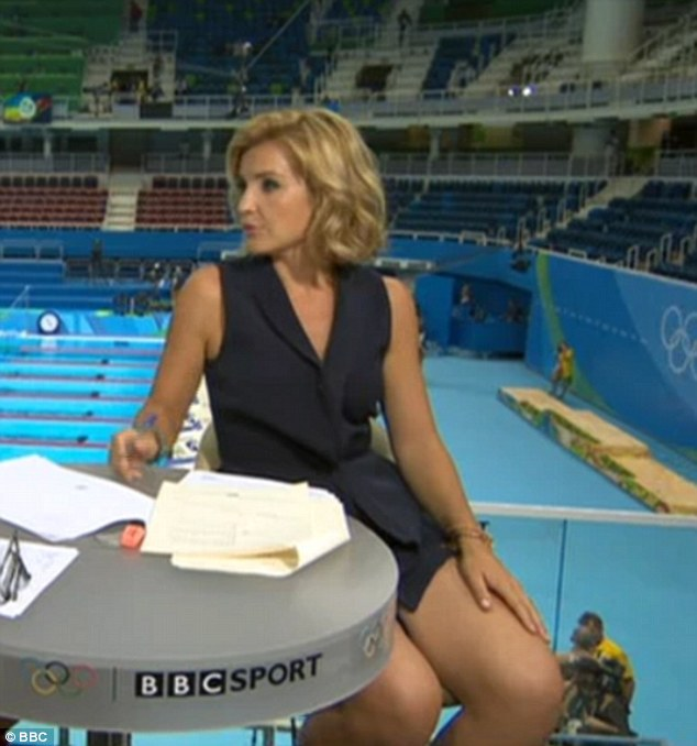 Leggy lady! Helen Skelton was getting fans hot under the collar  on Saturday as she presented the BBC's coverage of the swimming at Rio's 2016 Olympics in a short dress (pictured)