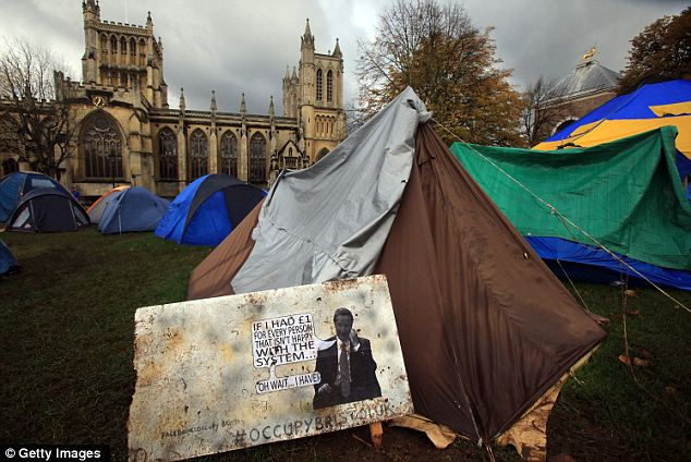 Resolute: Protesters in Bristol say they have no intention of leaving yet