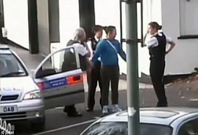 CCTV footage showing Nicola being arrested after killing Ms Hodkins and stabbing Kerry Clark