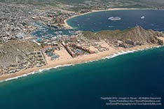 aerial view of pacific beach, resorts and bay, cabo san lucas, los cabos, mexico - 2012