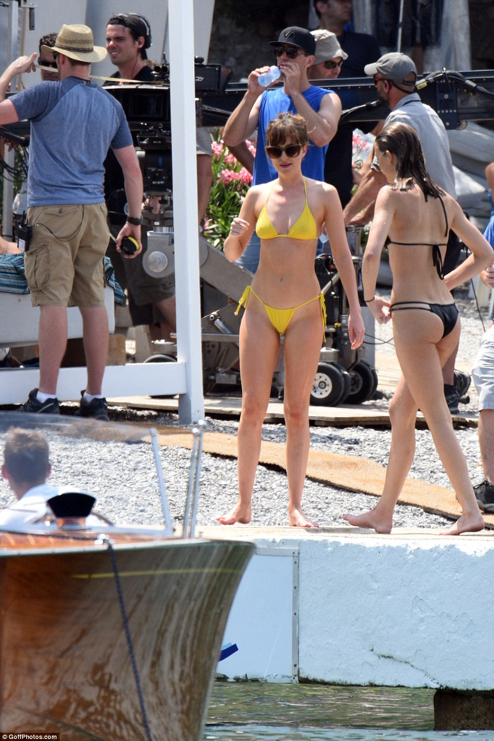Not so mellow yellow: Dakota appeared to have by far the most striking ensemble on the beach