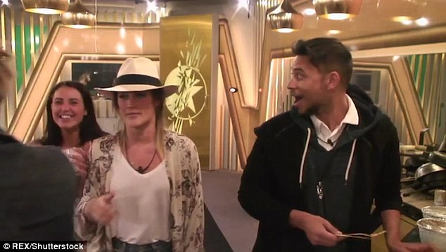 Romance is not dead: Marnie was keen to share the good news, telling fellow housemates Frankie Grande, Ricky Norwood and Katie Waissel: 'Lewis just dropped the L-bomb'