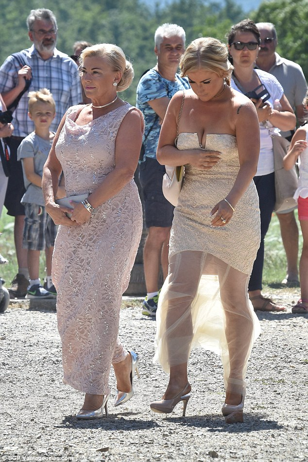 Sheer delight! The wedding was attended by some very glamorous guests, including one in a sheer cream dress