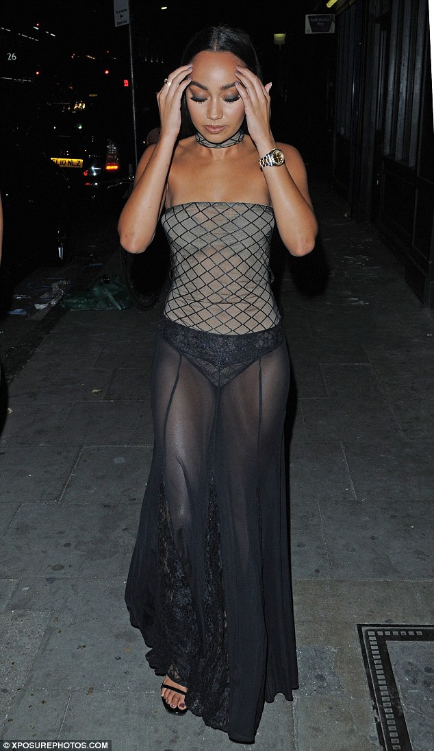 Tasteful:The 24-year old added to her look with an off-the-shoulder strapless top that drew attention to her slender physique, while her hair was centre parted and neatly tied away from her face