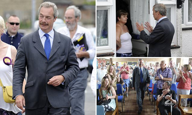Nigel Farage goes canvassing for Ukip for the final timein Newington