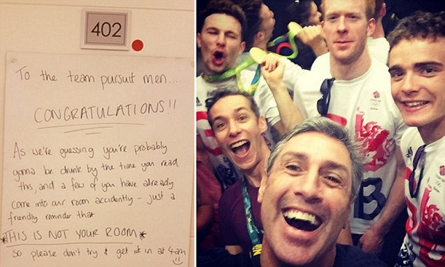 Team GB's women cyclists leave hilarious note for men as the celebrate winning gold