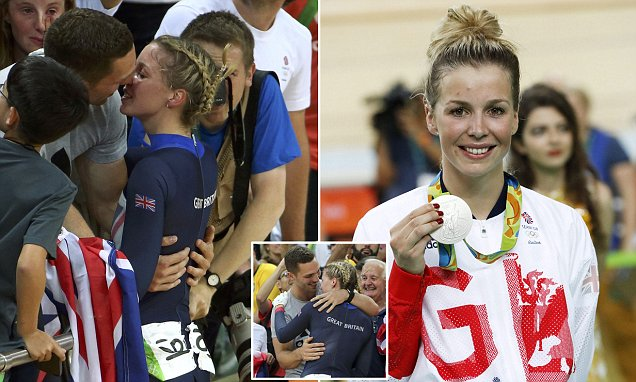 Team GB's Becky James kisses George North as she celebrates Olympic silver medal
