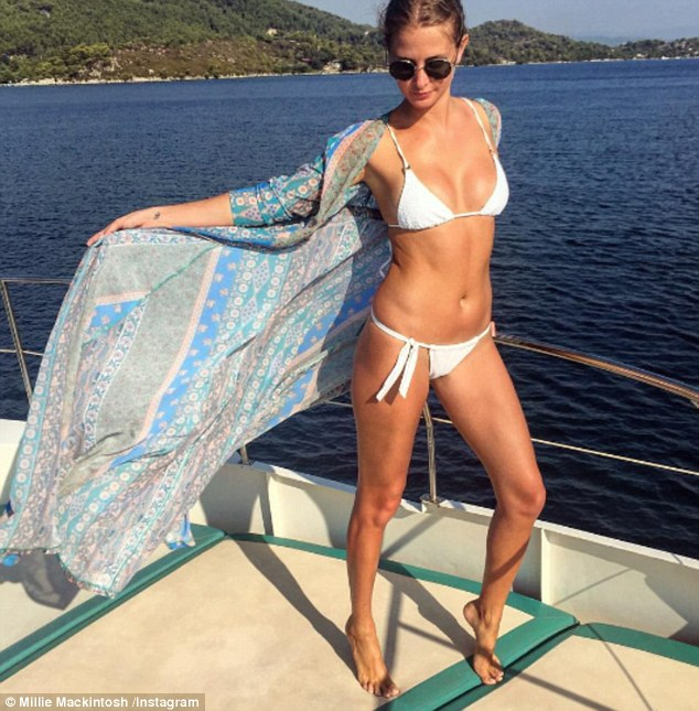 Strike a pose: With a new day came a new swimsuit snap, as the 27-year-old treated her fans to another sizzling shot from her Greek getaway on Saturday whilst clad in a white bikini