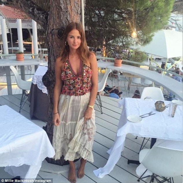 Chillaxed: Millie posed for a smouldering selfie after enjoying a tasting menu dinner