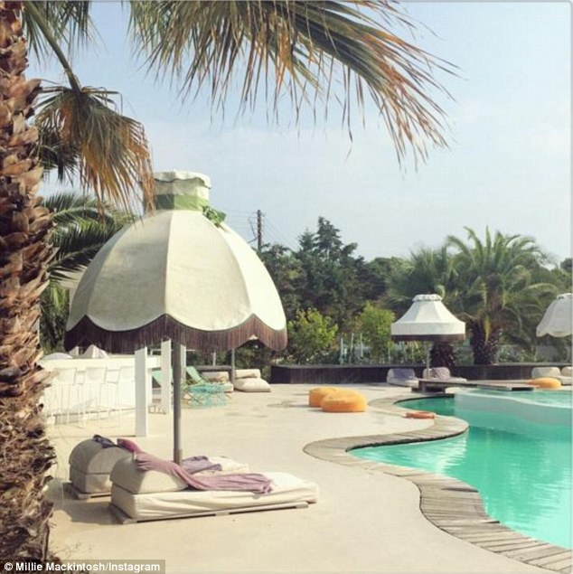 Holiday envy: Millie has been sharing envy-inducing snaps of her holiday location